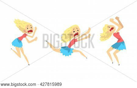 Frightened Girl Set, Scared And Panicked Young Woman, Panic Attack, Anxiety Phobia, Crisis Concept C
