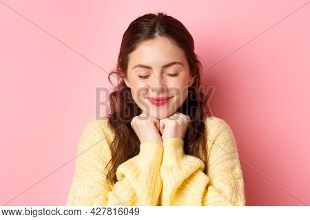 Close Up Of Lovely Brunette Woman Daydreaming, Close Eyes And Smiling, Thinking Of Romantic Moment,