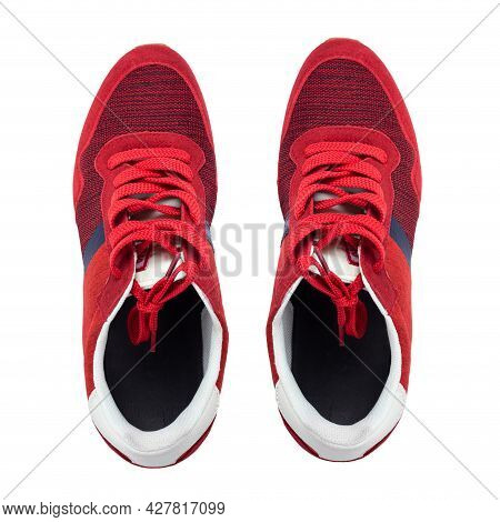 Men's New Red Sneakers, Isolated On White Background, Full Depth Of Field. Sport Shoes. Fashion Foot