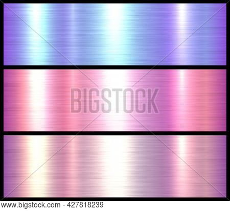 Metal textures set, shiny multicolored lustrous metallic backgrounds, brushed metal illustration.