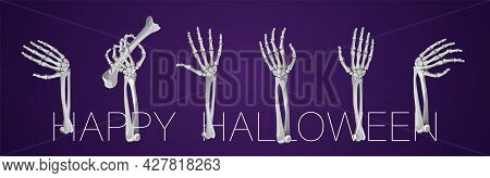 Set Of Skeleton Hands Rising From Under The Ground And Torn Apart. Realistic Drawing Isolated On Whi