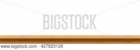 Empty Wood Plank, Plank Table In Front View, Wooden Desk, Wood Plank Top On White For Banner Backgro