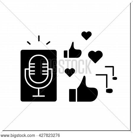 Podcasts Glyph Icon. Audio Or Video Recordings. Share Content On Online Platforms, Applications. Inf