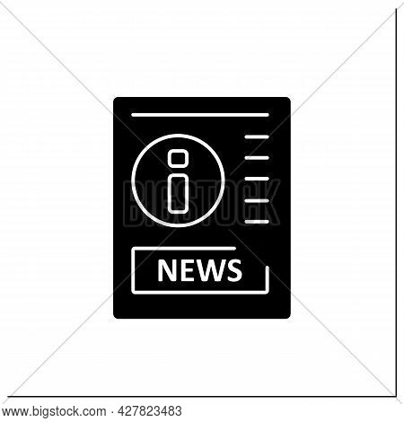 Gazette Glyph Icon. Article On Paper. Political, Cultural Info. Information Space. Important News. N