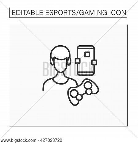 Mobile Game Line Icon. Gaming On Smartphones. Gamer Playing With Technical Devices. Headphones, Joys
