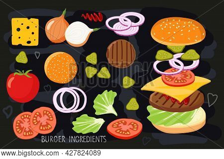 Burger Ingredient Set Isolated On Black Chalk Board. Hamburger Creation Product Kit. Chopped Vegetab