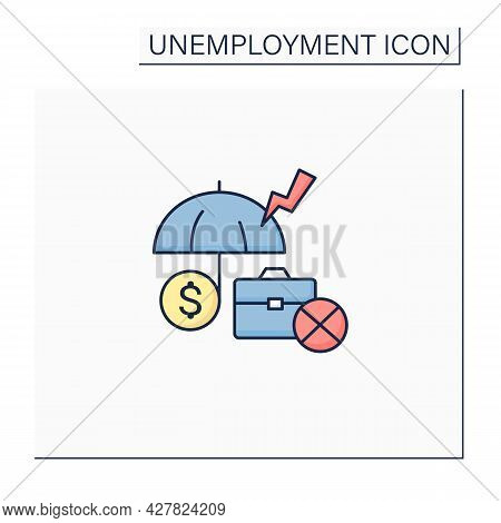 Unemployment Insurance Color Icon. Temporary Income For Eligible Workers. Unemployed Protection. Rep