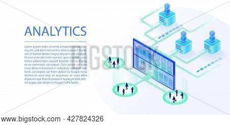 Data Analysis And Analytics Concept As A Web Banner. Isometric 3d Vector Illustration Of Data Proces