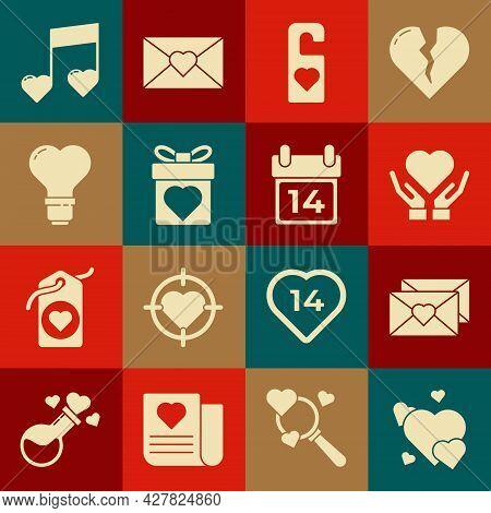 Set Heart, Envelope With Valentine Heart, On Hand, Please Do Not Disturb, Gift Box, Shape Light Bulb