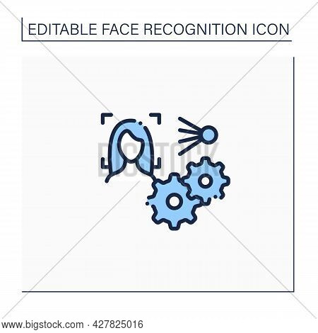 Software Line Icon. Face Id Recognition Software. Automatically Technology Biometric Verification.id