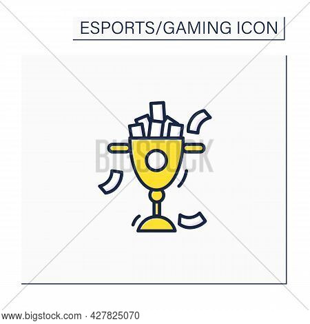 Prize Money Color Icon. Monetary Reward. Esports Cup. International Esports Competition. Cybersport