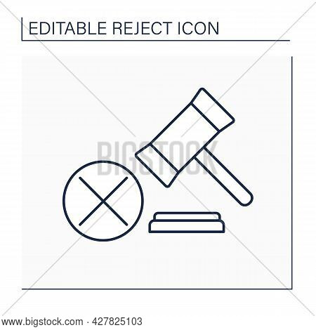 Laws Rejection Line Icon. Canceled Written Act, Document Establishes Norms Of Law. Notary Approving.