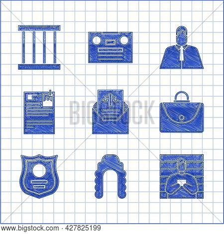 Set Subpoena, Judge Wig, Suspect Criminal, Briefcase, Police Badge, Lawsuit Paper, Lawyer, Attorney,