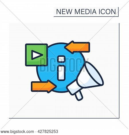 Information Space Color Icon. Exchanging And Promoting New Content. Social Media Platform. New Media