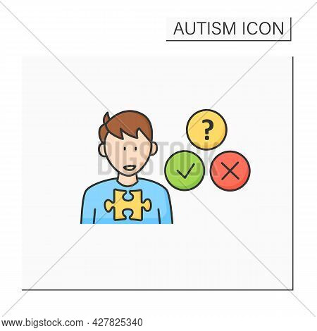 Neurodevelopmental Disorder Color Icon.socially Awkward.unable To Understand Expressions, Feelings.