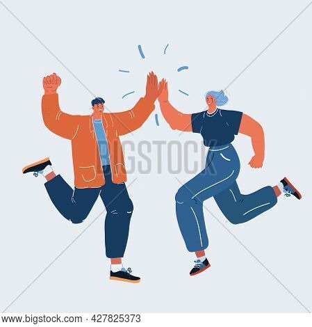 Vector Illustration Of Man And Woman Congratulating Each Other. Giving A High Fives Gesture With The