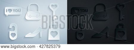 Set Woman Shoe, Key In Heart Shape, Please Do Not Disturb With, Shopping Bag, Handbag And Speech Bub