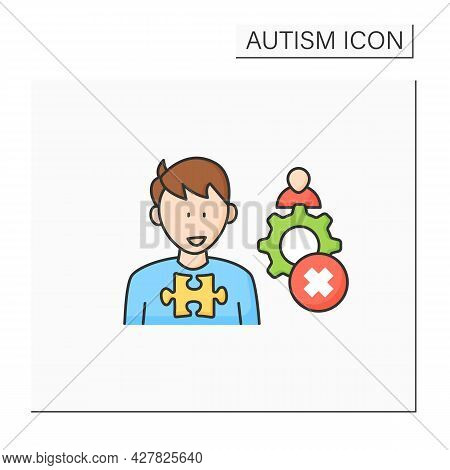 Neurodevelopmental Disorder Color Icon. Inappropriate Social Interaction. Keeps Aloof, Detached From
