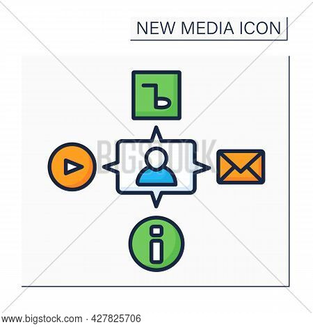 Media Color Icon. Interaction With All Content. Video, Audio, Information. Communication, Chatting W