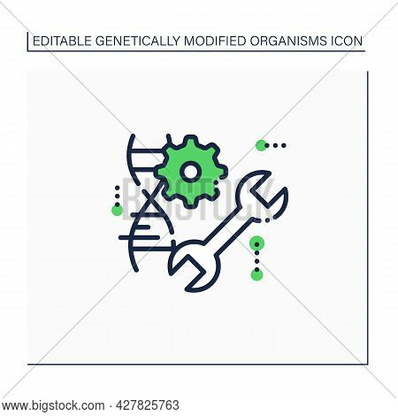 Genetic Engineering Line Icon. Dna Molecule, Editing Gene. Medical Technology. Microscopic Structure