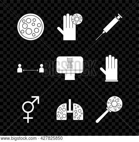 Set Virus, Hand With Virus, Syringe, Gender, Cells Lung, Under Magnifying Glass, Safe Distance And D