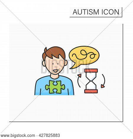 Neurodevelopmental Disorder Color Icon. Delay In Learning To Speak.start Talking Late. Autism Spectr