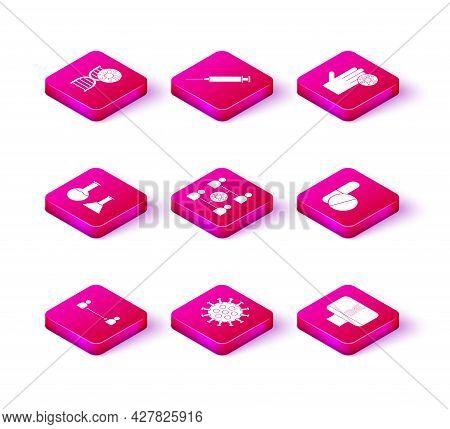 Set Safe Distance, Virus, Test Tube And Flask, Spread, Dna Spiral Computer, Medicine Pill Or Tablet,