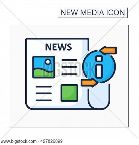 Newspaper Color Icon. Periodical Publication. Articles On Paper. Information Space. Important News.
