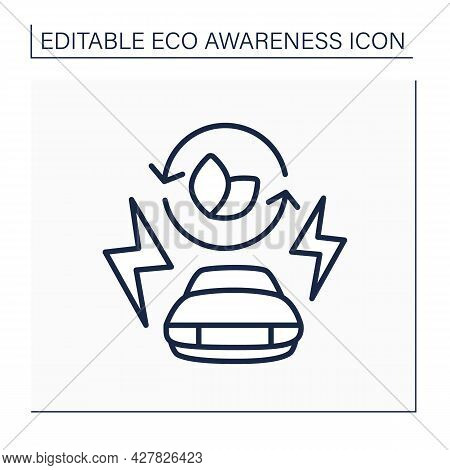 Electric Car Line Icon. Green Environment. Emit Less Greenhouse Gases And Air Pollutants. Eco Awaren