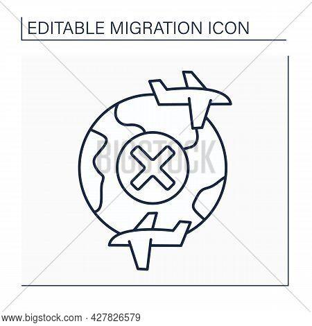 Internal Flies Line Icon. Border Crossing Ban. Migration Concept. Isolated Vector Illustration. Edit
