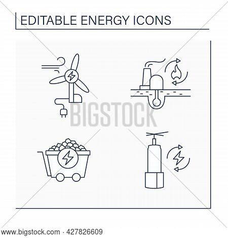 Energy Line Icons Set. Wind, Coal Energy, Renewable Fossil Fuels. Storage. Power Stations. Electrici