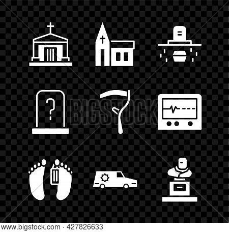 Set Old Crypt, Church Building, Grave With Coffin, Dead Body, Hearse Car, Tombstone, And Scythe Icon