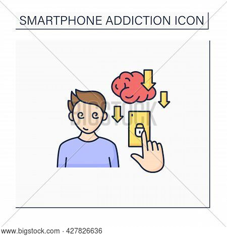 Smartphone Addiction Color Icon. Overuse Of Phone Reduces Productivity.phone Dependence. Overwhelmed