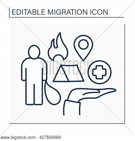 Refugee Line Icon. Forced Escape From Motherland Due To War, Disasters. Searching For Better Medicin