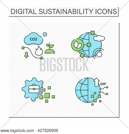 Digital Sustainability Color Icons Set. Climate Change Goals, Business Transformation, Experience, C
