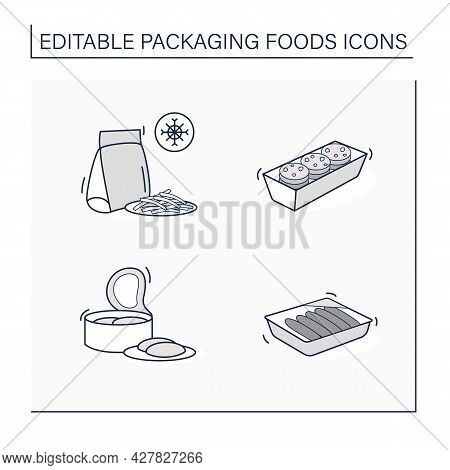 Packing Foods Line Icons Set. Cookies, Sausages, Canned Tuna, Frozen French Fries. Protection, Tampe