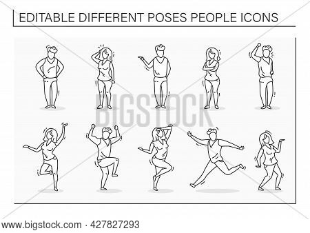 Different Poses People Line Icons Set. Consists Of Woman And Man Dance, Waving, Unsatisfied People,
