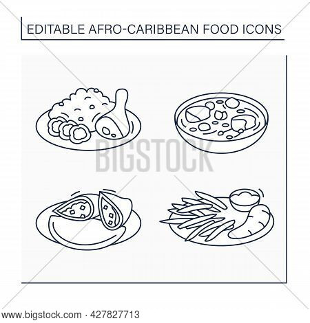 Afro-caribbean Food Line Icons Set. Jollof Rice And Fried Stewed Chicken, Efo Egusi, Meat Pie, Boile
