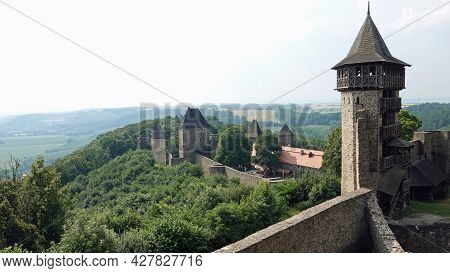 Ruins Of Helfstyn Castle In The Czech Republic. View Of The Observation Tower