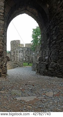 View Of The Fortifications Wall Of Helfstyn Castle Through The Gate In The Moravian Region In The Cz