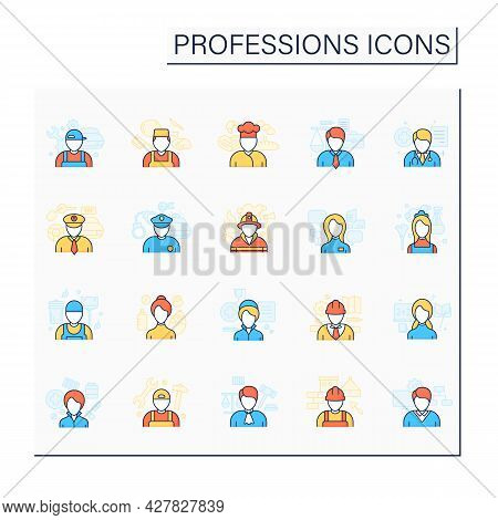 Professions Color Icons Set. Various Professions. Important Jobs. Career Concept. Isolated Vector Il