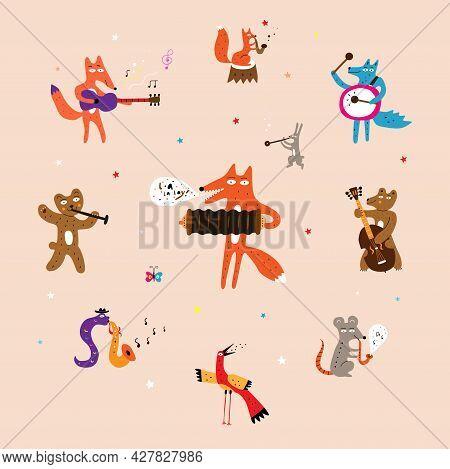 Animals Plaing On Musical Instruments Vector Design Elements Cartoon