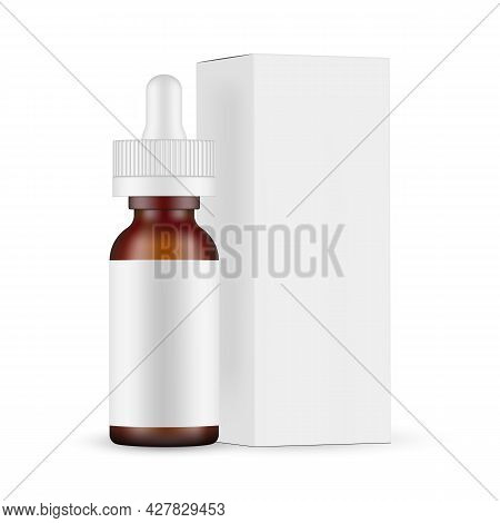 Frosted Amber Dropper Bottle Mockup With Paper Box Side View, Isolated On White Background. Vector I