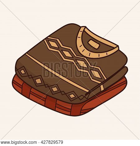 Vector Autumn Doodle Illustration. A Stack Of Warm Folded Knitted Jumpers Or Patterned Pullovers.