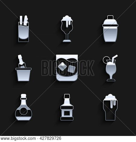 Set Glass Of Whiskey, Whiskey Bottle, Beer, Cocktail, Bottle Cognac Or Brandy, Champagne In Ice Buck