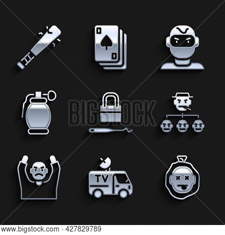 Set Lock Picks For Lock Picking, Tv News Car, Murder, Mafia, Thief Surrendering Hands Up, Hand Grena