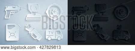 Set Police Electric Shocker, Headshot, Canister Fuel, Tv News Car, Kidnaping And Pistol Or Gun Icon.