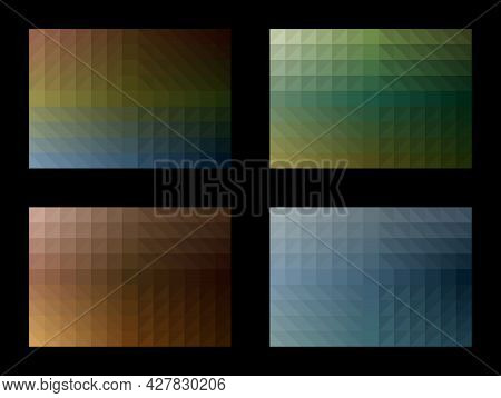 Geometric Pattern Set. Gradient Square Triangle. Earth Tone Color Background. Template Design For Pu