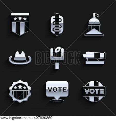 Set American Football Goal Post, Vote, Cannon, Usa Independence Day, Western Cowboy Hat, White House