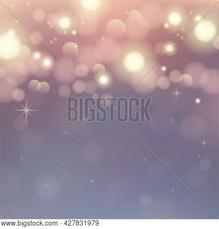 Abstract Bokeh Background. Blurred Bright Abstract Bokeh On Orange Background. Holiday Glowing Color